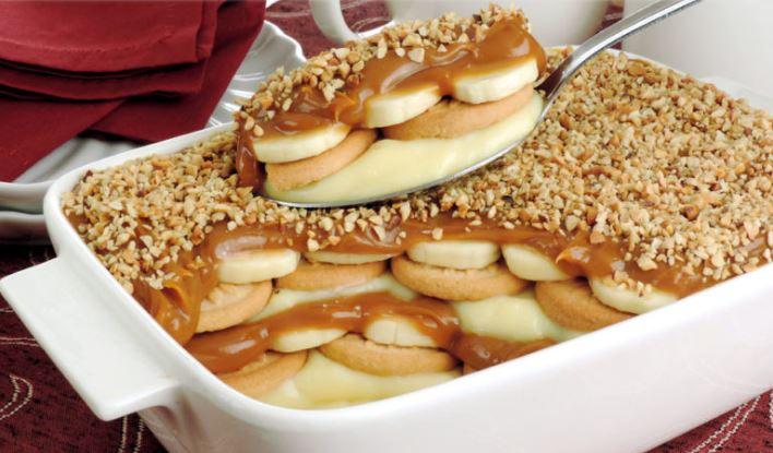 Butterkeks Dessert mit Bananen und Vanillepudding