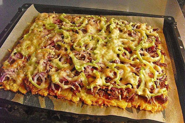 Kartoffelpizza mit Hackfleisch, ohne Hefeteig