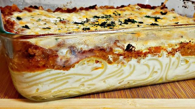 Spaghetti Auflauf mit Mozzarella